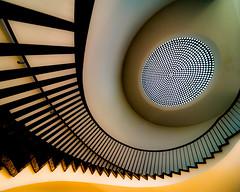 Up! (Maerten Prins) Tags: shadow up yellow museum stairs germany circle spiral stair steps cologne köln dot stairwell step railing dots curve duitsland keulen makk museumfürangewandtekunst