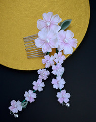 Cherry Blossom Kiss. Tsumami Kanzashi. (Bright Wish Kanzashi) Tags: flower art hair asian japanese pin handmade style ornament fabric ornate fiber technique tsumami kanzashi