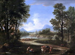 IMG_5139 Andr Locatelli 1695-1741. Rome. Paysage avec cavaliers, voyageurs et troupeaux.  Landscape with riders, passengers and herds. Grenoble. Muse des Beaux Arts. (jean louis mazieres) Tags: france museum grenoble painting frankreich muse museo francia peintures peintres fineartsmuseum musedesbeauxarts andrlocatelli