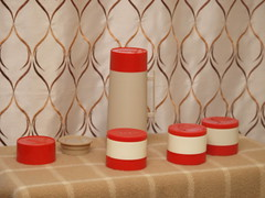 Aladdin Red Thermos (vintage-13) Tags: red food classic vintage beige 60s colorful forsale nashville cream ivory kitsch thermo retro container plastic 80s jar 70s 1960s etsy 1970s aladdin 1980s thermos quart insulated 7000 hylo storages 1qt wm1060p