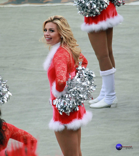Redskinette Cheerleader Christa in Christmas outfit.