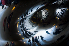 The Escher Bean (Erik Lykins) Tags: people usa chicago reflection illinois outdoor cities bean photowalk publicart millenniumpark cloudgate anishkapoor 2015 a6000 outofchicagoconference