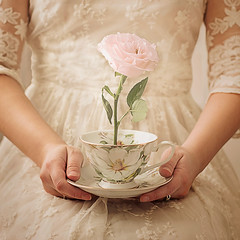 Growth (Teresa_R_) Tags: pink portrait selfportrait flower cup girl rose hands sitting dress tea lace surreal romantic conceptual diamondclassphotographer flickrdiamond