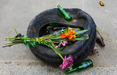The End Result of Drunk Driving (Steve Taylor (Photography)) Tags: road street city flowers newzealand christchurch stilllife orange black flower green beer glass memorial sad purple bottles distorted crash can canterbury rubber nz mauve southisland cbd bouquet tyre drunkdriving