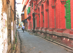 Through the Lane (MONOJIT PHOTOGRAPHY) Tags: road street door city travel red india abstract color colour heritage window wall evening architechture cityscape artistic outdoor candid streetphotography streetscene lane kolkata bengal calcutta westbengal bonedi