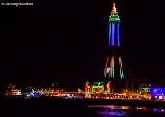 Rainbow Tower (JKmedia) Tags: street sky people tower lamp wheel silhouette festival night reflections lights sand colours power transport illuminations tram rail ferris artificial celebration electricity pedestrians manmade handheld vehicle annual colourful bigwheel tramway blackpool afterdark powered blackpooltower 2015 canoneos7d boultonphotography