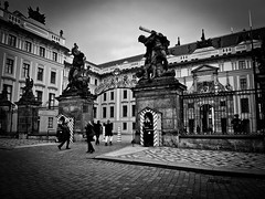 Prazsky hrad entrance! (Halibel14) Tags: city blackandwhite castle pen lens lumix prague entrance olympus czechrepublic prazskyhrad epl1