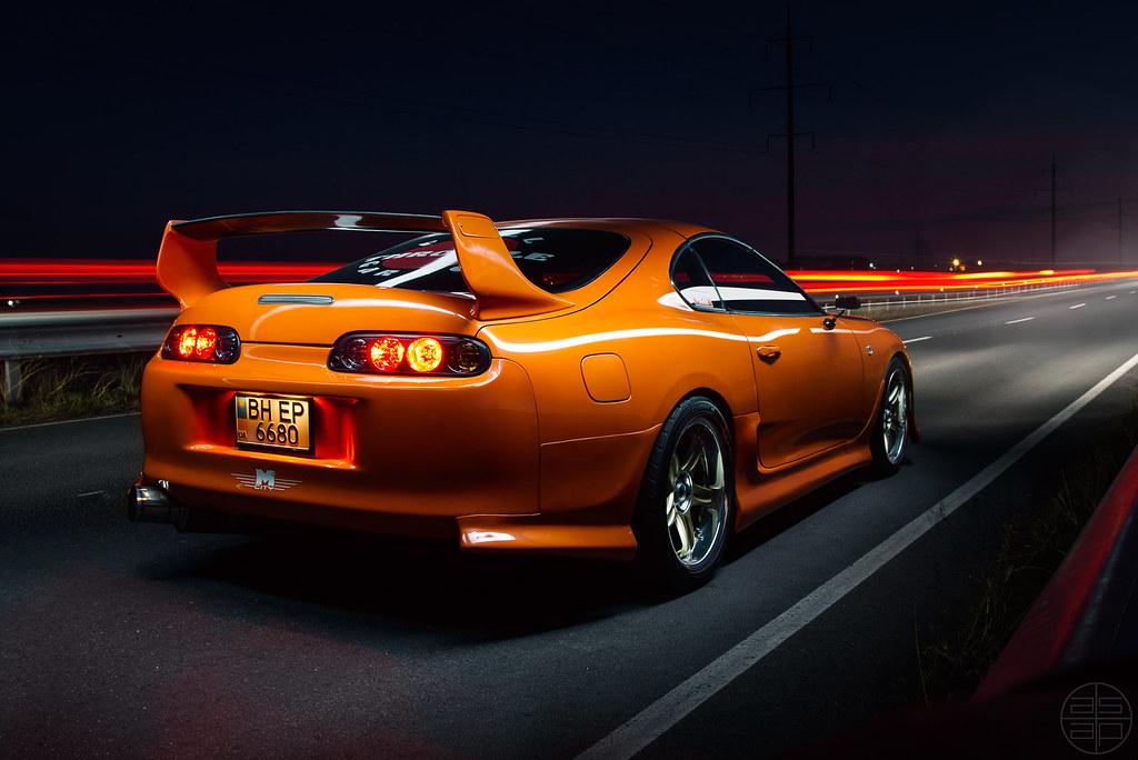 Toyota Supra (ASAP_Prod) Tags: Sunset Orange Beautiful Car Night Drag Fire  Evening Highway