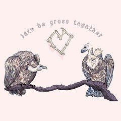 Love vultures (minniemorrisart) Tags: pink art love nature birds animals ink typography sketch artwork artist arty drawing cartoon picture vultures card valentines prey vulture