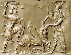 Engraving of Gilgamesh, Enkidu and the Bull of Heaven during a battle (Historystack) Tags: asia earth government solarsystem mesopotamia bronzeage sumer milkyway gilgamesh uruk historyofiraq 27thcenturybc 28thcenturybc agaofkish