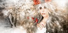 Princess of snowflakes .:. P U .:. (Hppy S Vlee' Dy! ) Tags: winter portrait beauty illustration snowflakes frost princess retrato digitalart magical ritratto pileup winterbeauty fantasyart winterprincess