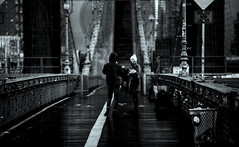 Brooklyn Bridge (Alex Szymanek) Tags: life street city nyc bridge winter light people bw white signs ny newyork storm black wet water smile rain brooklyn contrast canon dark island happy for see focus waiting moments day afternoon open slow view time manhattan live air think sunday perspective january talk overcast away surface daily diagonal clear rainy believe elements be there instant 5d after conversation does lower moment talking must tomorrow simple across something along bnw reflects sides 2016 markiii hardlight
