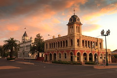 Forbes Town Hall and Post Office (Darren Schiller) Tags: sunset building clock architecture clouds postoffice forbes newsouthwales townhall streetscape smalltown