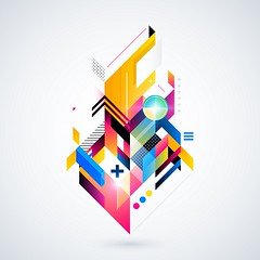 Abstract geometric element with colorful gradients and glowing lights. Corporate futuristic design, useful for presentations, advertising and web layouts. EPS10 vector illustration. (geometricunicorn) Tags: light abstract motion texture geometric collage modern illustration composition contrast flow grid corporate idea design glow technology power graphic bright image artistic geometry vibrant decorative background web decoration creative style surface retro diagonal cover elements planes gradient glowing abstraction positive concept straight decor brochure polygon template hitech isolated futuristic constructivism