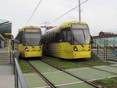 Manchester Metrolink 3081 & 3008 at Deansgate Castlefield (Twydallaer) Tags: 3008 3081 manchestermetrolink deansgatecastlefield