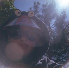 Alien sighted in 1978! (Great Beyond) Tags: california boy portrait selfportrait man male film sunglasses vintage square hoodie child kodak tony hood 1978 126 selfie sambos sambo kodakinstamatic kodaksafetyfilm squareformatfilm 126formatfilm