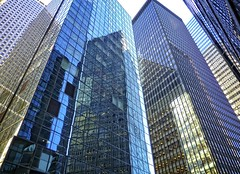 (Goggla) Tags: new york nyc blue reflection building glass architecture skyscraper downtown manhattan district financial