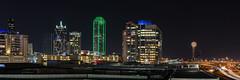 Downtown Dallas (brian.a.eaton) Tags: longexposure colors skyline night buildings lights dallas nikon downtown cityscape skyscrapers tx reuniontower bankofamericatower d7000