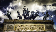 Statues on the Roof of Teatro Politeama Garibaldi (Luc V. de Zeeuw) Tags: roof sky horses italy horse man clouds teatro statues ornament sicily palermo garibaldi sicilia politeama teatropoliteamagaribaldi