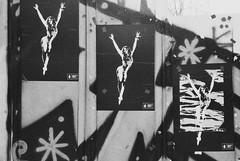 Untitled (minwage3412) Tags: bw streetart film analog 35mm poster graffiti delta korea seoul ilford  hongdae 3200iso rollei35se
