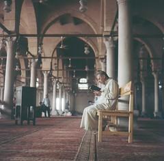 *prayer (fangchun15) Tags: africa travel people 120 6x6 film islam religion egypt mosque cairo yashica roundtheworld yashicamat124g