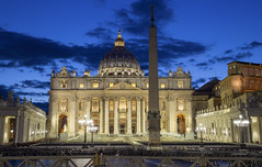 The Papal Basilica of St. Peter (St. Peter's Basilica) (JRE313) Tags: city blue italy vatican rome tower church night canon landscape lights twilight europe catholic god dusk basilica jesus catedral hour bible hdr