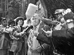 Canadian Agriculture Minister Eugene Whelan is hit by a milk jug thrown by angry Qubec farmers in 1976 after cabinet refused to approve subsidies to compensate farmers in a collapsed world market. Whelan said this refusal helped elect the Parti Qubcois (Histolines) Tags: world history fall by rural that this is milk hit farmers market cabinet canadian retro eugene qubec angry jug timeline after said agriculture whelan refused 1976 minister elect collapsed thrown refusal parti helped approve qubcois ridings vinatage subsidies compensate 1000x750 historyporn histolines httpifttt1qpjxup