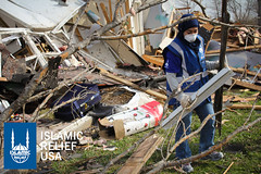 Islamic Relief USA's disaster response team cleans up the rubble created by the tornado that devastated parts of Texas.
