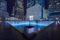 North Pool (karinavera) Tags: street city longexposure travel building pool architecture night memorial view worldtradecenter 911 wtc memorialplaza northpool nikond5300