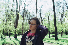 Julia (Frostroomhead) Tags: park portrait woman green art nature girl face glasses nikon f14 sigma 30mm d5200