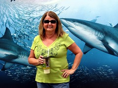 You can hang with the sharks at the INDIANAPOLIS ZOO. (kennethkonica) Tags: blue people usa color green smile sunglasses weather america canon pose fun happy spring women midwest legs drink random outdoor candid indianapolis group streetphotography bodylanguage posed indy indiana sunny cups mature april sharks shorts persons global canonpowershot hoosier marioncounty