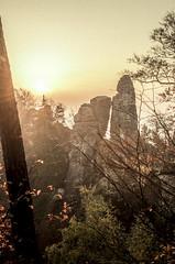 Novembersonne (matthias_oberlausitz) Tags: herbst landschaft sonne sonnenaufgang bastei gegenlicht felsen rathen herbstfarben