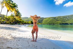 Woman Standing on a Beach with Hands Behind Her head, Magens Bay, St Thomas, US Virgin Islands (George Oze) Tags: ocean morning travel sunset vacation woman usa beach horizontal standing landscape outdoors bay us quiet outdoor unitedstatesofamerica relaxing scenic lifestyle happiness sunny calm palmtrees barefoot attractive tropical northamerica daytime tranquil sarong beautifulpeople stthomas virginislands saintthomas sandybeach handsonhead usvirginislands caucasian magensbay bathingsuite onewomanonly blondwoman backsideview caucasianethnicity sunglassesonhead caucasianwoman casualatmosphere 3035yearsold modelcaribbean