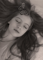 (Rebecca Watson Photography) Tags: portrait blackandwhite bw blur classic girl beauty sepia butterfly wings child sleep fineart daughter dream blurred outoffocus dreamy sepiatone metamorphosis fineartphotography