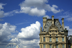 Louvre palace (micmol ) Tags: city blue roof sky cloud white paris france building window water rose horizontal seine architecture clouds contrast river garden day cloudy outdoor louvre fluffy nobody frombelow icon palace lookingup several cumulus when repetition ferriswheel tuileries iconic fr cumulusnimbus grandroute