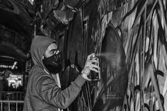 Artiste (handmiles) Tags: street blackandwhite bw london art monochrome graffiti mono paint sony streetphotography tunnel indoor streetphoto inside spraypaint tamron in tamron18200mm leakestreet sonya77m2 sonya77mark2 london2016 mileshandphotography2016