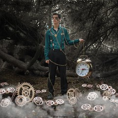 A Broken Story (Fer Siciliano) Tags: boy man broken fairytale forest vintage dark toy fineart fantasy dreams conceptual clocks manipulate relojes