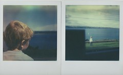 """""""I can see a boat!"""" (elin*) Tags: t polaroid sx70 diptych ardmore impossibleprojectcolourfilm roidweek2016"""