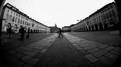 Torino - PiazzaSanCarlo (Brigante..) Tags: urban monochrome blackwhite streetphotography fisheye fujifilm 8mm turin piazzasancarlo urbanphotography brigante xt1 fujifilmxt1