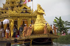 The Golden Barge (bag_lady) Tags: festival boat burma buddhism myanmar inlelake procession barge shanstate thadingyut goldenbarge karoweik
