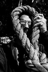 R0000340 (RadShirt) Tags: ocean selfportrait reflection blackwhite rope noose
