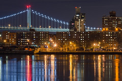 Riverside living in New York (Lojones13) Tags: bridge newyork water night reflections cool cityscape riverside queens eastriver rfkbridge