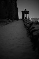 Dugald on his own (Lucky Poet) Tags: winter snow monochrome night scotland blackwhite memorial edinburgh path caltonhill dugaldstewart