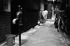 Active Well in the Alley (Purple Field) Tags: street leica bw film monochrome bicycle japan analog 35mm walking 50mm bucket alley kyoto fuji iso400 rangefinder well summicron   neopan m3   presto  f20             stphotographia