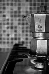 coffee (brescia, italy) (bloodybee) Tags: bw italy stilllife kitchen coffee metal breakfast fire drink bokeh steel c explore pot flame tiles alphabet cooker moka bialetti bisazza 365project 52weeksproject azproject