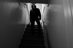 They thought they were safe to go in during the day... The House of 26 Eyes (Bart D. Frescura) Tags: light blackandwhite bw selfportrait strange stairs reflections dark shadows mask inside masked cinematic westcoast lightandshadow lightanddark maskedportrait maskedselfportrait bartdfrescura creepycalifornia