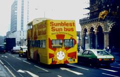 Slide 045-97 (Steve Guess) Tags: uk england bus london yellow open top rear topless gb topper sunblest mtj967c