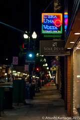 Park Street in Alameda (kumagai.atsushi) Tags: park street sign night dark neon sidewalk una alameda desolate deserted volta cera
