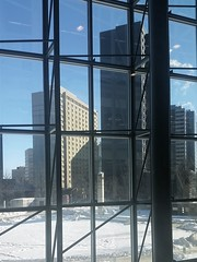 A view from the library elevator (canadianlookin) Tags: building window downtown winnipeg view elevator february 2016 millenniumlibrary