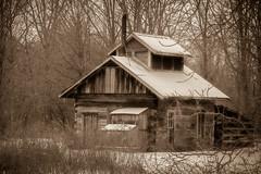 The sugar shack (the_sandman_454) Tags: winter sepia cabin oldtime wintry chippewanaturecenter nikond810 chippewanaturecentermidlandmi tamron70200mmf28divcusd